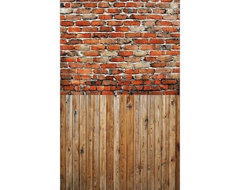 Grunge Alley Brick and Wood - Vinyl Photography  Backdrop Photo Prop