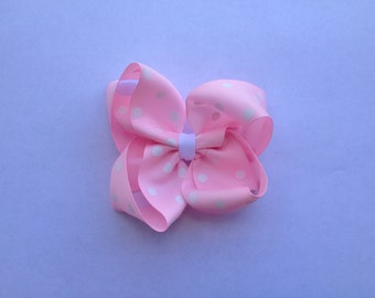 Ready to Ship Pink and White Polka Dot Boutique Hair Bow