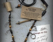 Fly Fishing Lanyard + Tippet Holder with Buffalo Horn, Wood and Bronze Finished Copper Wire Beads on Black 2mm Paracord