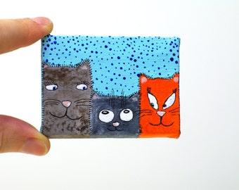 Cat painting Three cats art Cat portrait Cat illustration Cat drawing Cat lover gift Cute Cat decor Animal painting 3 cats Funny art Meow