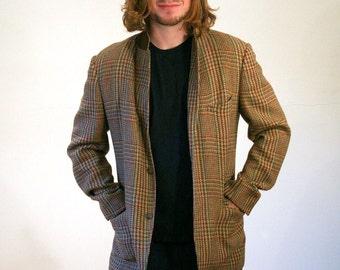 60s Houndstooth Blazer, Tweed Sport Coat, Tan & Green Blazer, Houndstooth Jacket, L, 42L