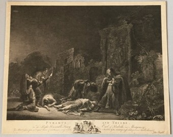 Antique Large Folio Copper Plate Engraving, Published C1768, London, Engraved Pierre Charles Canot after Leonard Bramer, Pyramus and Thisbe