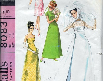 """Vintage 1965 McCall's  8083 Mod Brides, Bridesmaids or Evening Dress in Two Lengths Sewing Pattern Size 11 Bust 31 1/2"""""""