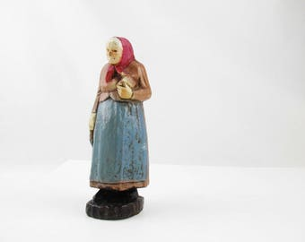 Little Old Lady From the Woods  -  Pressed Wood Figure - Figure With Red Scarf - Rough Cut and Painted - Folk Art - Primitive - Caricature