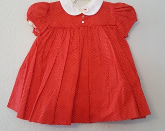 Vintage Girls Red Polka Dot Dress with White Peter Pan Collar and bloomers- Size 9 months-  New, Never Worn