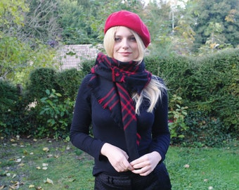 Vintage black and red squared  wool  shawl