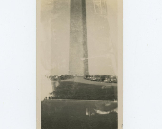 Washington Monument, Man in Boater, 1935 Double Exposure: Vintage Snapshot Photo (71537)