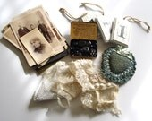 antique destash treasures: 12 cabinet cards, lace & pillow, antique tobacco tin with black buttons and embellishments, wood ornaments