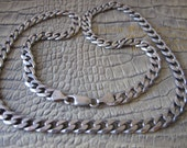 22 IN OTC Italian Made Cuban Curb Link Sterling Silver Vintage Chain Necklace/ 7 MM Width/ 42 Grams/ Italian 925 Sterling/ Father's Day Gift