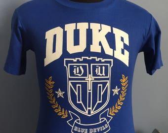 80s Vintage Duke University Blue Devils ncaa college T-Shirt - SMALL