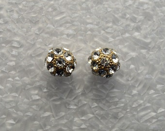 Faceted Cubic Zirconia 10 mm Round Ball Magnetic Earrings