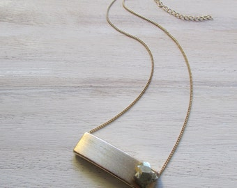 Brushed metal Pyrite necklace