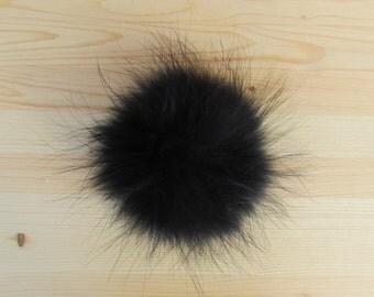 Pompon noir en fourrure pour tuque et bonnet