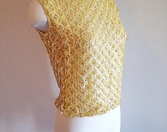 Vintage Mid Century Yellow Sequin Top 1960s