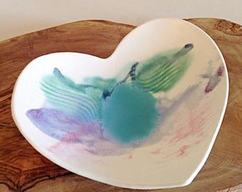 Studio Artisan Pottery Handmade Heart Dish Boho Wedding Decor