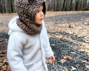 Fall Fashion For Kids, Back to School Sale, Animal Hood, Hooded Cowls for Kids, Baby Hats, Winter Baby Hood, Winter Kid Hat, Wolf Cat Hat