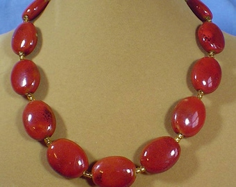 "An 18"" touch of color - Red/Orange Oval Porcelian bead necklace - N493"