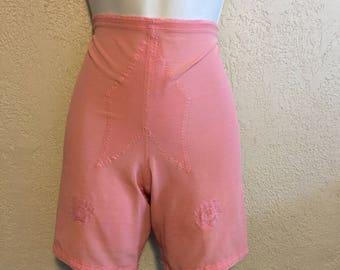 Pink Vintage Panty Girdle with Garter Belt by Vanity Fair