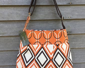 SALE Orange and Brown Pleated Purse