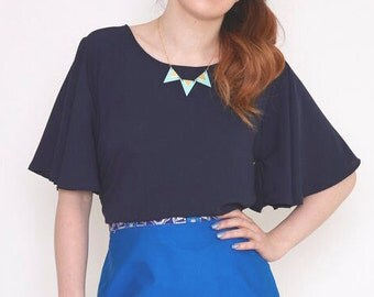 Womens Top - Navy Floaty sleeved top - Ladies Top - Navy - Plain top - Party top - 70's style sleeve- Womens blouse