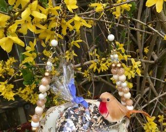 Repurposed Dish Bird Feeder, Upcycled Ceramic Bowl, Hanging Planter, Garden Art, Recycled Vintage Dish Art, Home Decor, Mini Plant Holder