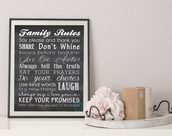 House Rules Sign - Family Rules Sign - Family Rules Print - Sign with Family Rules - House Rules Print - Playroom Rules - Subway Art