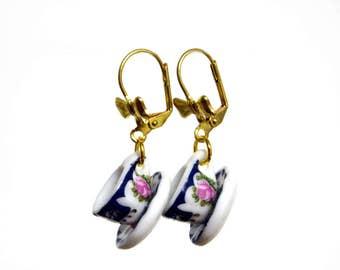 Tea Jewelry, Tea Cup Earrings, Teacup Earrings, Tea Party Outfit, Tea Party Favors, Tea Gifts, Dangle Earrings, Tea Time, Bow Earrings