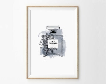 Number 5 Perfume Bottle Print - Coco Art Print - Perfume Bottle Print - Watercolour Print