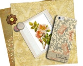 Vintage floral Iphone 7 Plus case, Antique asian floral print in peach and gray, Monogrammed gifts for her, Valentine's Day gift  (1758)