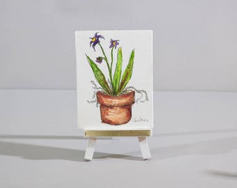 Original miniature art, small potted orchid still life painting on wooden easel, affordable gift for home, gift for office tabletop decor