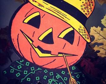 Vintage Halloween Scarecrow Jack O Lantern Pumpkin Head Man Beistle Co Old Halloween Decor Display Collectible