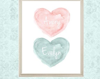 Teal Nursery, Sisters Print, Teal and Blush Nursery Decor, Teal Twins Gift, Teal Nursery Art, Teal Watercolor, Twin Sisters Gift, Teal Green