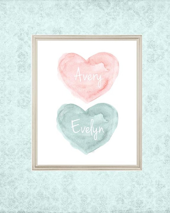 Blush and Teal Sisters Heart Print, 8x10 Personalized