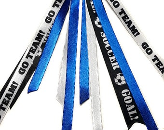 Soccer Team Hair Bow Ribbon Streamers Ponytail Holder- Alligator Clip or Scrunchy