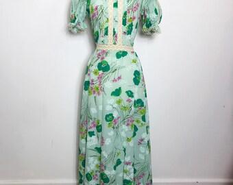 Beautiful 1970s Mint Green Floral Maxi Dress, Small