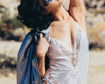 vintage 1980s white lace v-neck bodysuit with sheer back