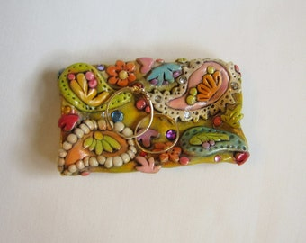 Jeweled Paisley Bobby Pin Dish, Colorful Ring Dish, Rustic Boho Jewelry Holder