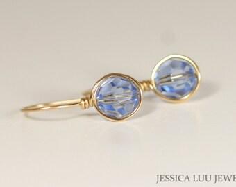 Gold Blue Swarovski Crystal Earrings Wire Wrapped Jewelry Light Blue Earrings Rose Gold Earrings Rose Gold Jewelry Dangle Earrings