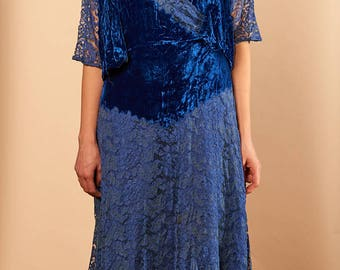 1930s blue lace and velvet two piece gown with slip size large