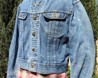 Mens Vintage Denim Trucker Jacket, Blue Jean Coat