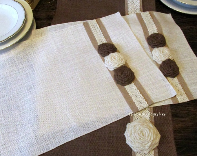 Holiday Burlap Runner & Place Mats, Brown and Off White Rustic Table Linens, Farmhouse Table Decor, Rustic Burlap Runner, Burlap and Lace