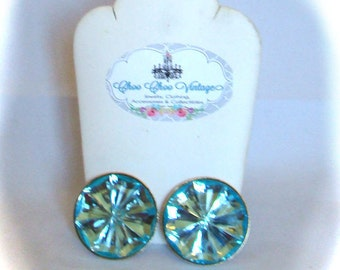 Aqua Blue Crystal Earrings Large Runway Clip On Earrings Something Old Something Blue High End Vintage Clip Earrings 1970s Jewelry