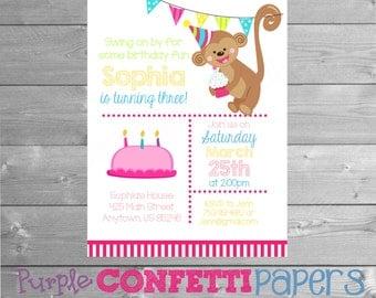 Monkey Birthday Invitation, Monkey Party, Monkey Invitation, Monkey Invite, Monkey Birthday, Girl Birthday, Pink, Printable, 5x7