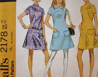 1960s Dress Pattern / McCalls 2178 / Yoked A Line Dress /  Vintage Sewing Pattern /UNCUT/ Bust 36