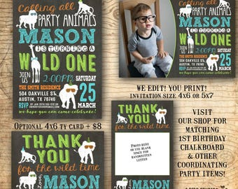 Party animal invitation - Party animal birthday party invitation - first birthday invitation - Chalkboard boys birthday invite - u print