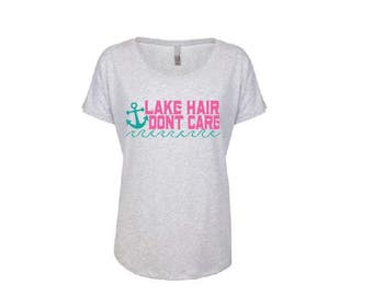 Lake Hair Don't Care Tee.  Long Dolman Top. Long Length T-Shirt.