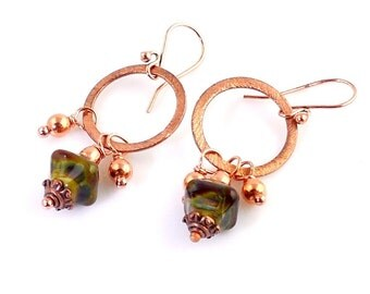 Copper and Green Lampwork Beaded Hoop Earrings, Copper Jewelry, Lampwork Earrings, Lampwork Jewelry, Gifts
