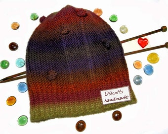 Knitted beanie, hand knitted hat, wool beanie, stripped beanie, sport hat, scully, winter accessories, gift for women, multicolored hat