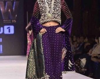 Zainab Chottani master replica, purple palazzos, women clothing, indian/pakistani/bengali dresses