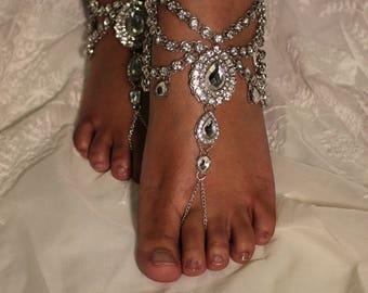Silver Wedding Accessories Wedding Dress Foot Jewelry Crystal Anklet Destination Wedding Silver Bali Barefoot Sandals Bridal Beach Shoe